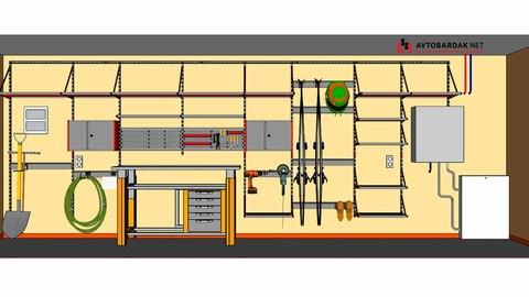 Проект № 30: полки, системы хранения и мастерская на стене длиной 6,45 м слева от въезда в гараж.