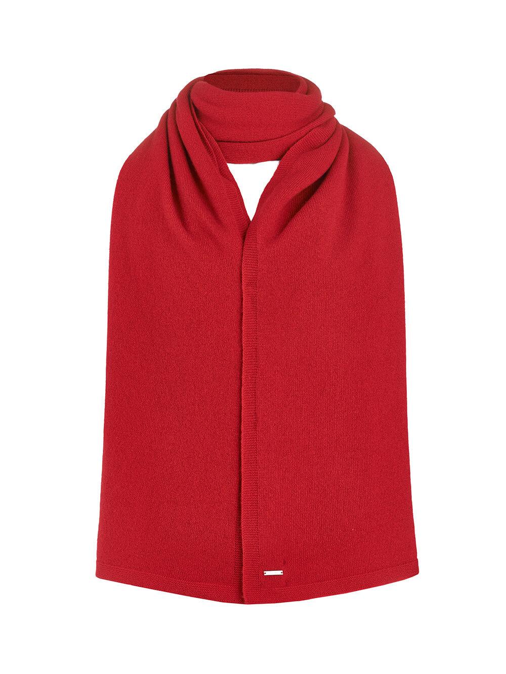 Женский шарф красного цвета из 100% кашемира - фото 1