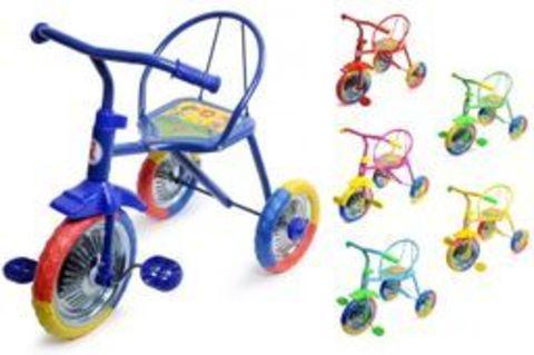 Велосипед 3-х кол., 3-х цветный, ПВХ колеса 10' и 8' цвета в ассорт. в/к