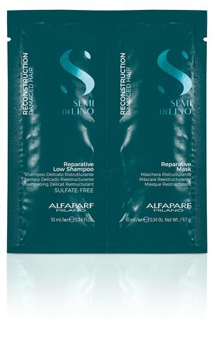 Alfaparf Milano Пробник (шампунь + маска) для поврежденных волос Semi Di Lino Reconstruction Reparative