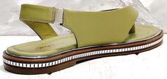 Женские кожаные сандалии босоножки на резинке Evromoda 454-411 Olive.