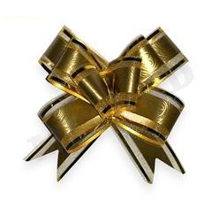 Бант-бабочка Золото с золотой окантовкой (полипропилен. органза) 3 см, 10 шт, 1 уп.