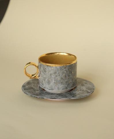 Кофейная пара  серая с золотыми точками и серым блюдцем