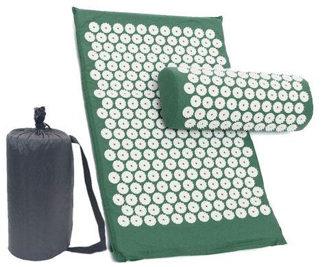Массажный коврик (аппликатор Кузнецова) + подушка (зелёный)