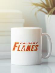 Кружка с рисунком НХЛ Калгари Флэймз (NHL Calgary Flames) белая 008