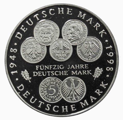 10 марок. 50 лет Немецкой марке (J). Серебро. 1998 г. PROOF. В родной запайке