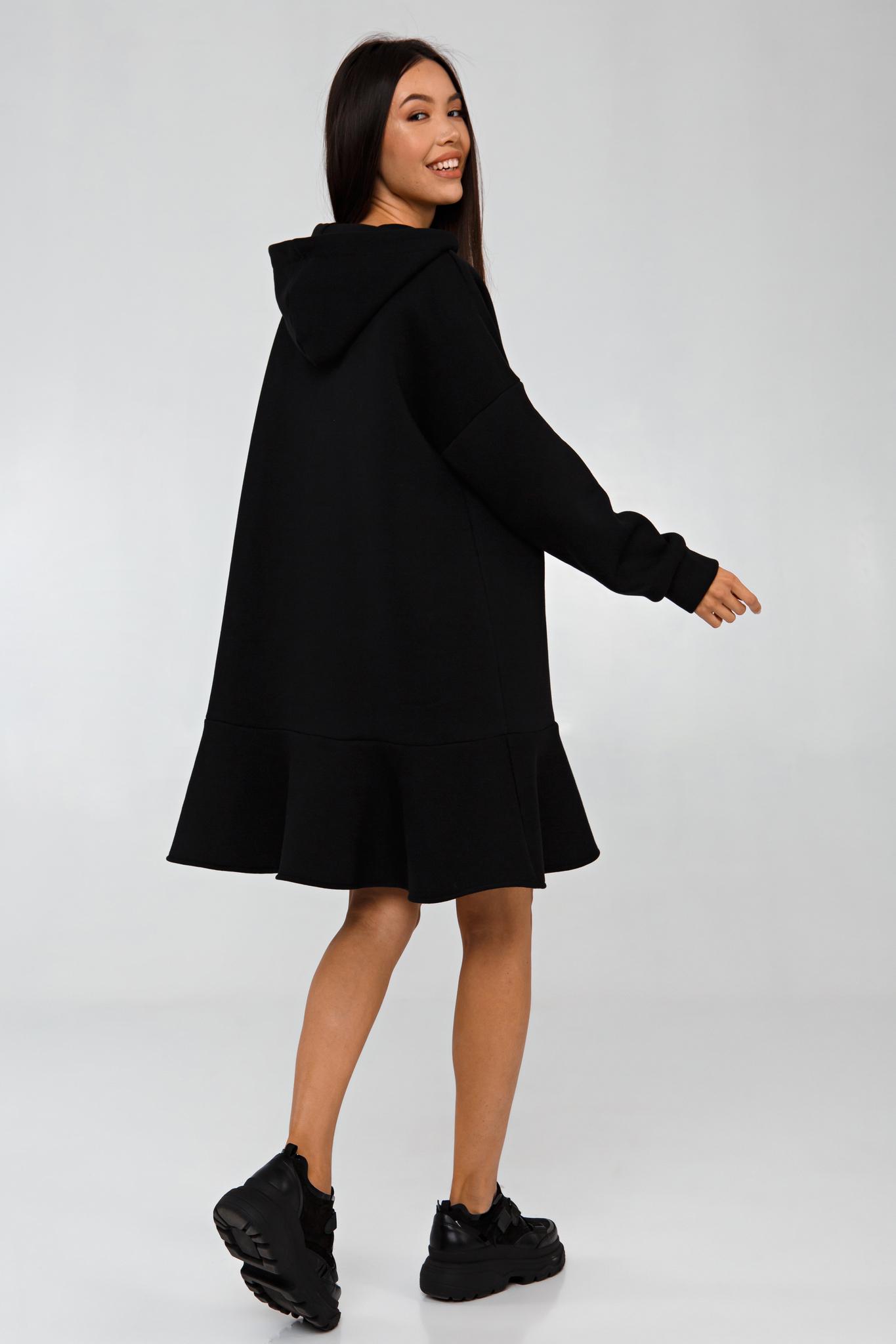 Платье-худи черное с начесом YOS от украинского бренда Your Own Style