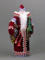 Сувенирная кукла Дед Мороз с мешком и ёлкой