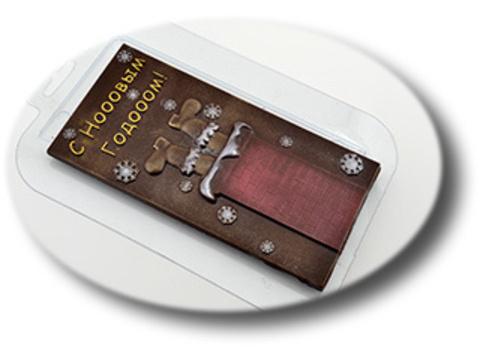 Пластиковая форма для шоколада Санта в трубе