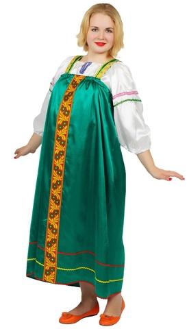 Русский народный сарафан Татьяна зелёный