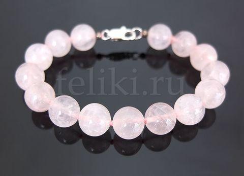 браслет из розового кварца шарики 10 мм_фото браслет розовый