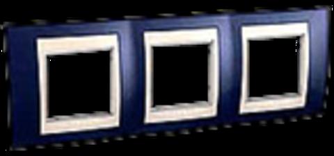 Рамка на 3 поста. Цвет Индиго/Бежевый. Schneider electric Unica Хамелеон. MGU6.006.542