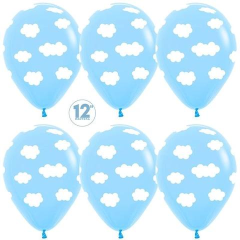 Шар (12''/30 см) Облака, Светло-голубой (039), пастель, 5 ст.