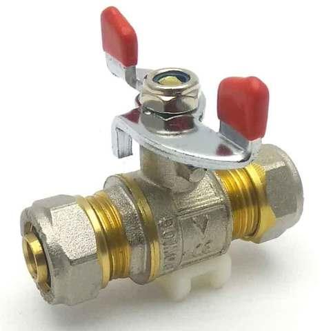 Кран шаровой для металлопластиковых труб 16 мм Valve