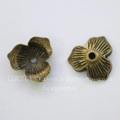 "Шапочка в виде цветка ""три лепестка"" (цвет - античная бронза) 11х10х2,5 мм, 10 штук"