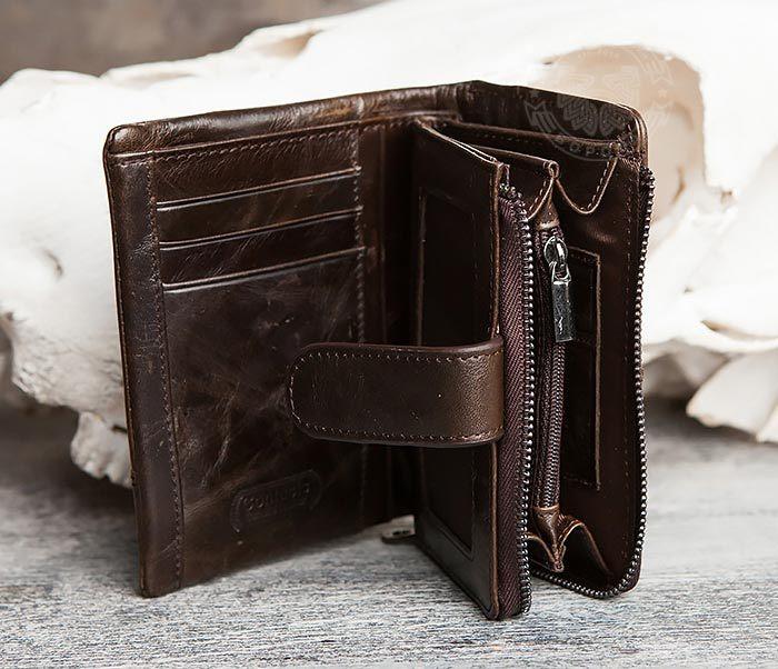 WL257-3 Вместительное мужское портмоне коричневого цвета на застежке фото 04