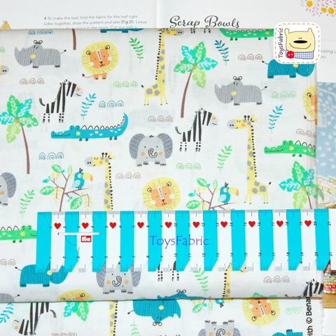 Ткань для пэчворка 20954 (звери джунглей на белом) 45х55см