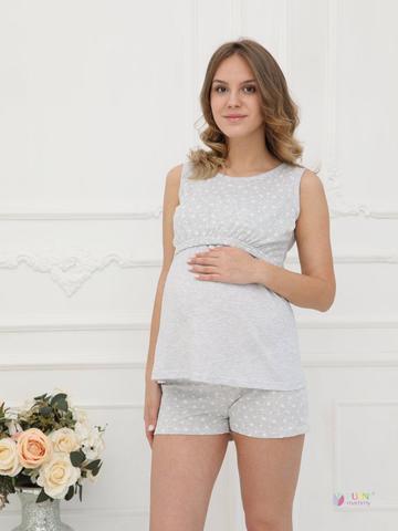 ФЭСТ, Hunny Mammy. Пижама для беременных и кормящих с горизонтальным секретом, серый меланж/белый вид 1