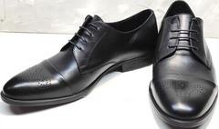 Стильные туфли мужские дерби Ikoc 2249-1 Black Leather.