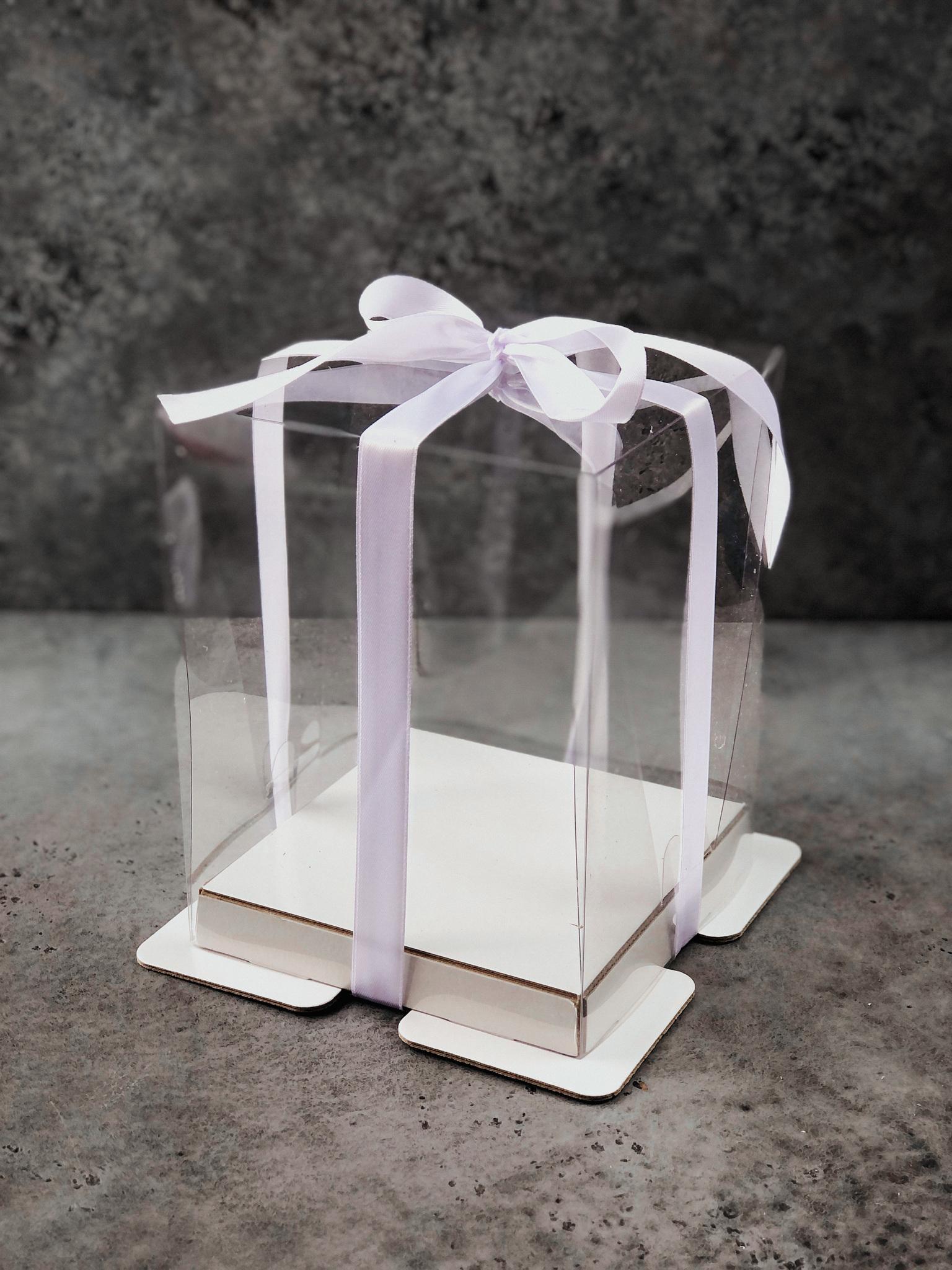 Коробка для торта или кулича прозрачная 15х15х20 см, БЕЛАЯ