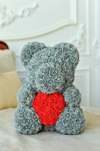 Мишка из Роз Серого цвета