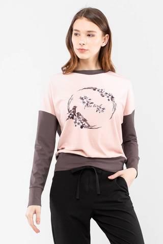 Фото светло-розовый джемпер с растительным орнаментом и контрастной отделкой - Джемпер В617-824 (1)