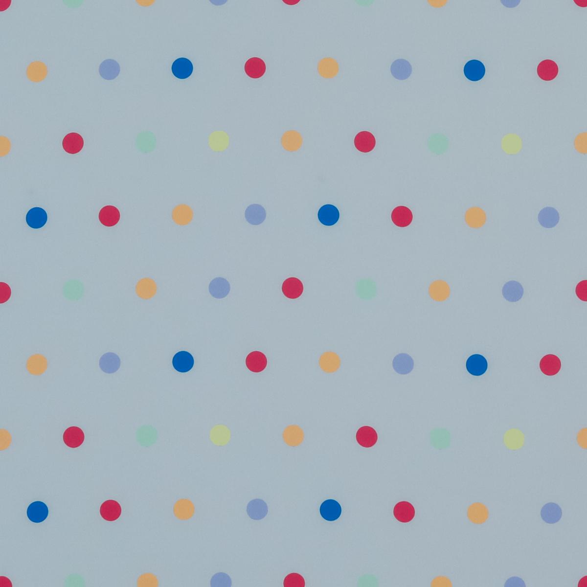 Шёлковый крепдешин приглушенно-голубого цвета в разноцветный горох