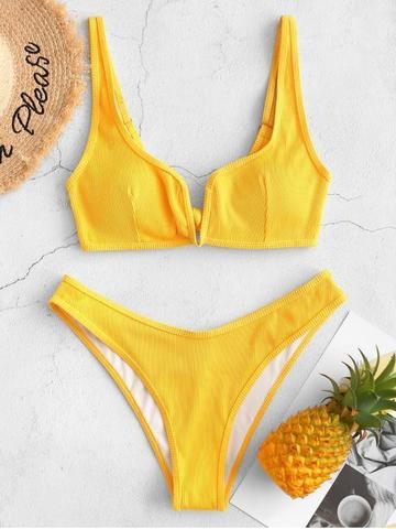 купальник раздельный желтый с лямками и v вырезом на груди в рубчик v-ribbed yellow 1