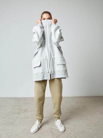 Куртка с кулисой из футера светло-серый меланж