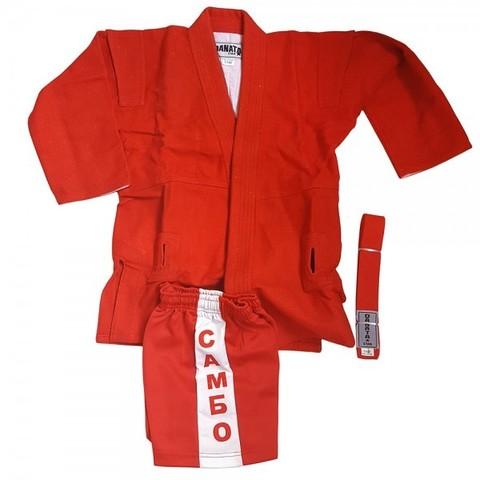 Кимоно самбо 130см (куртка,шорты,пояс) цв. красный
