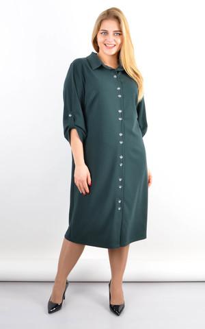 Аніта. Подовжена сукня-сорочка плюс сайз. Смарагд.