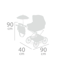 DeCuevas Коляска с рюкзаком и зонтиком для кукол REBORN серии СКАЙ, 90 см  (складная, с регулируемой ручкой) (82035)