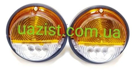 Фонарь передний (подфарник) Уаз 452, 469, Хантер светодиодный желто-белый с ДХО к-т 2 шт. (пр-во ЕвроСвет)