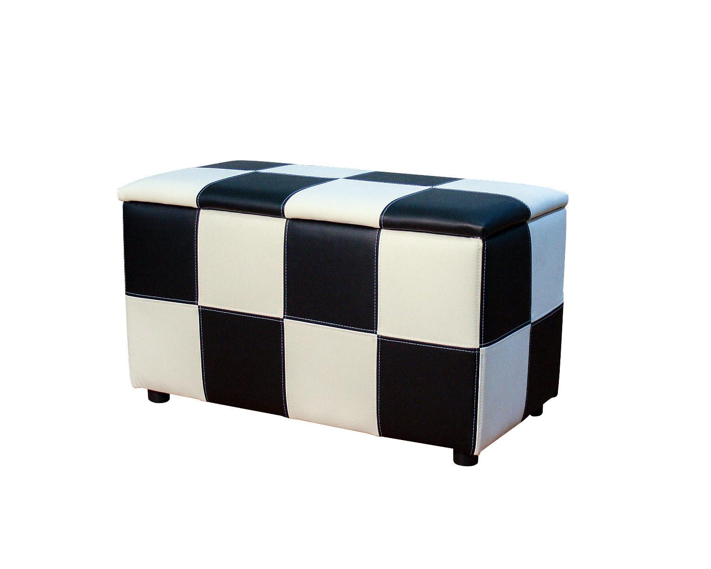 Пуф Квадрат-Х2 с ящиком, шахматы из кусочков кожзама