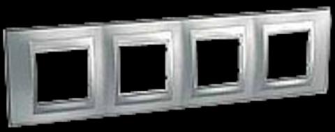 Рамка на 4 поста. Цвет Хром матовый-алюминий. Schneider electric Unica Top. MGU66.008.038