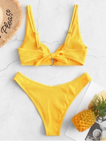 купальник раздельный желтый с лямками и v вырезом на груди в рубчик v-ribbed yellow 2