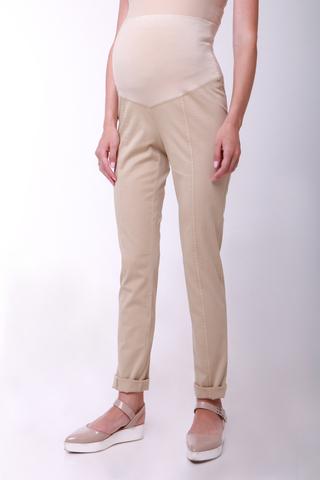 Зауженные брюки для беременных цвет бежевый