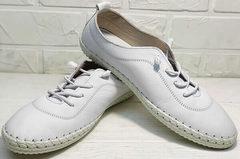 Кожаные белые кеды туфли спортивные женские Rozen 115 All White.