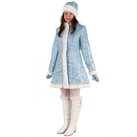 Костюм женский Снегурочка мини приталенная сантун голубой