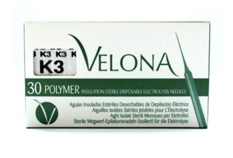 Иглы для электроэпиляции с изоляцией K3 Velona, 30 шт.