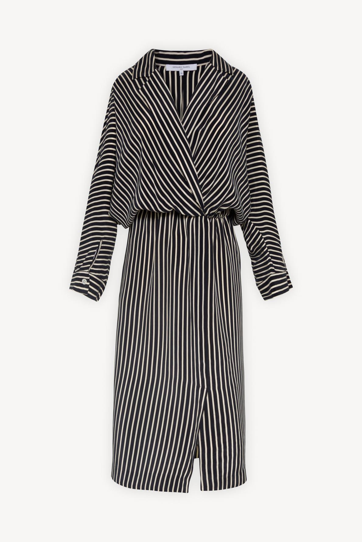 STELLA - Полосатое платье с запахом длины миди