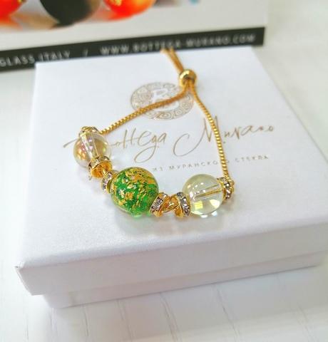 Браслет со стразами Franchesca Ca'D'oro Emerald Gold 030O