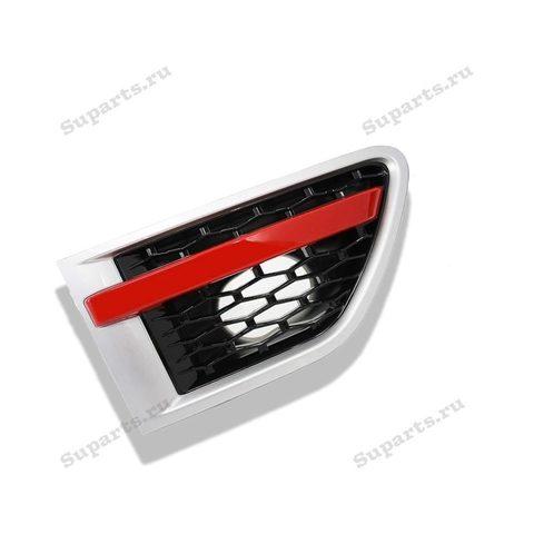 Решетка воздухозаборника правая Range Rover Sport 2010, 2011, 2012 серая с красной полосой