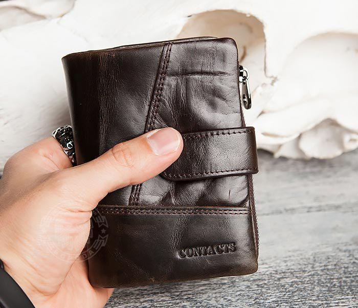 WL257-3 Вместительное мужское портмоне коричневого цвета на застежке фото 07