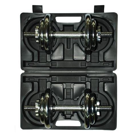 Набор разборных хромированных гантелей 2 по 10 кг в кейсе 4502CD-1