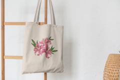 Сумка-шоппер с принтом Цветы (Лилии) бежевая 006