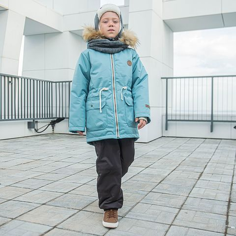 Winter membrane parka with fur for teens - Menthol