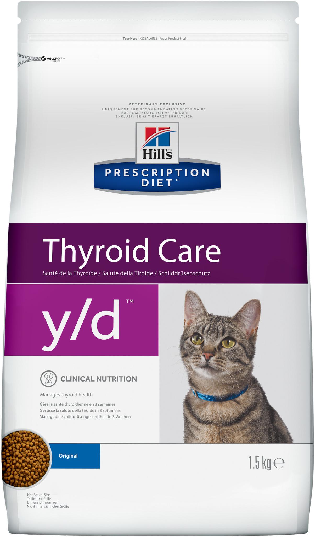 купить хиллс Hill's™ Prescription Diet™ Feline y/d™ Thyroid Care сухой корм для взрослых кошек, диетический рацион при гипертиреозе 1.5 кг