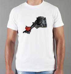 Футболка с принтом Волк (Wolf) белая 0049