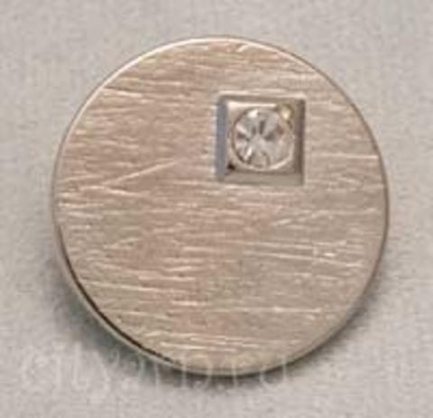 Пуговица с ассиметричным стразом, цвет серебряный, большая